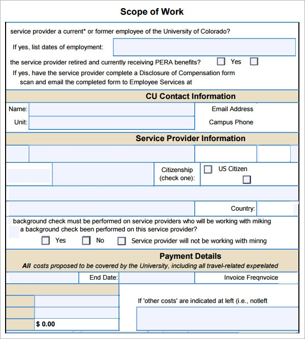 Sample Scope Of Work Template - Contract for construction work template