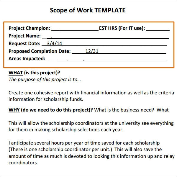 Scope of Work Template Sample A6i7bBUc