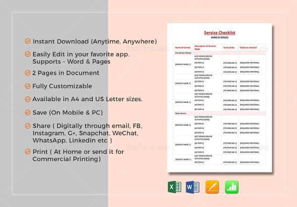service-checklist-template