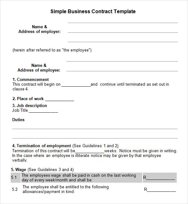 Business contract template friedricerecipe Choice Image