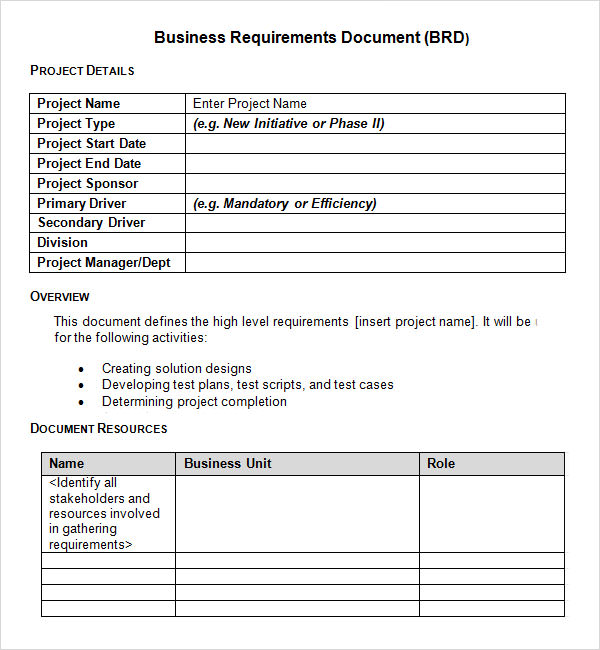 7 business requirements document templates pdf word for Tender specification template