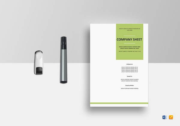 simple company fact sheet template