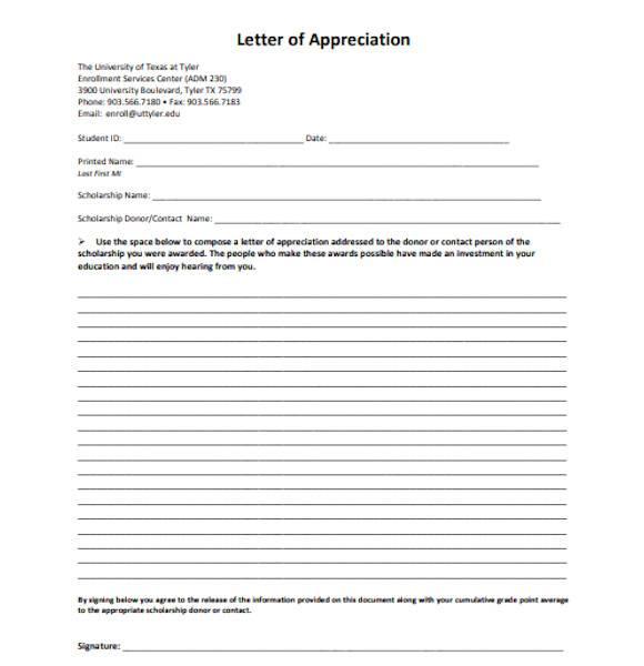simple letter of appreciation
