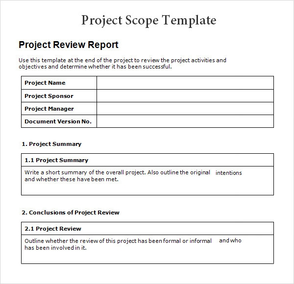 8 sample project scope templates to download sample With sample scope document template