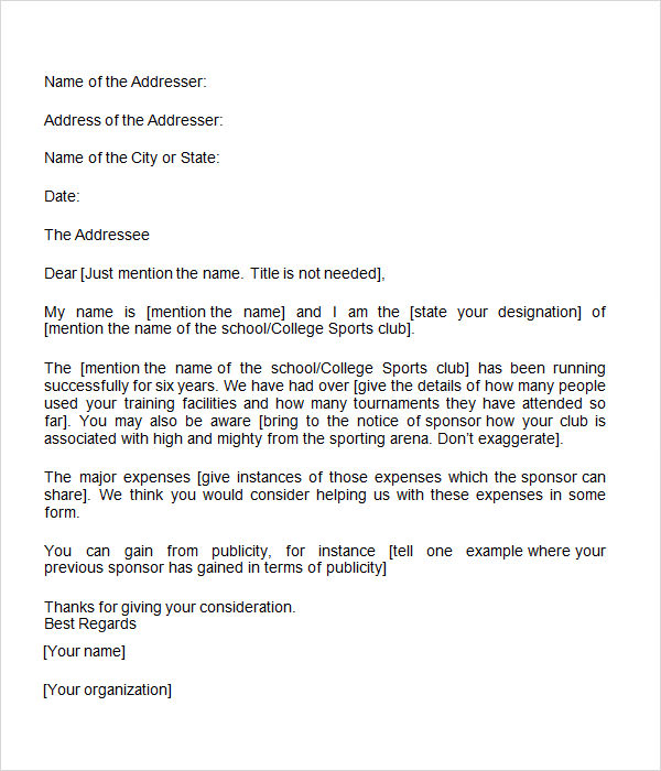 Sponsorship letter 7 free download for word for Sponsorship letter template for sports team