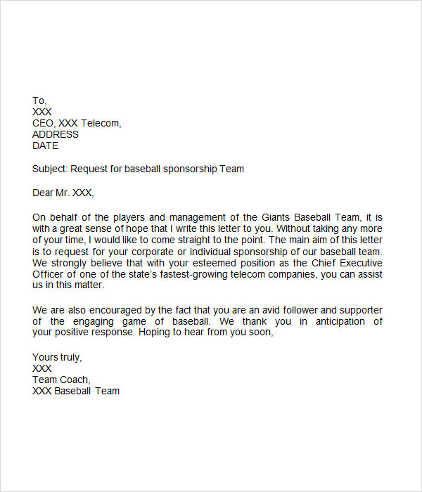 8 free sample sponsorship letters to download sample for Sponsorship letter template for sports team