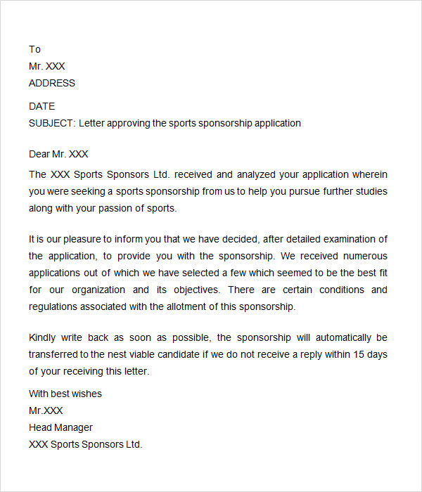 Sponsorship Letter 7 Free Download for Word – Format of a Sponsorship Letter
