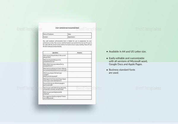 staff employee self evaluation template in ipages