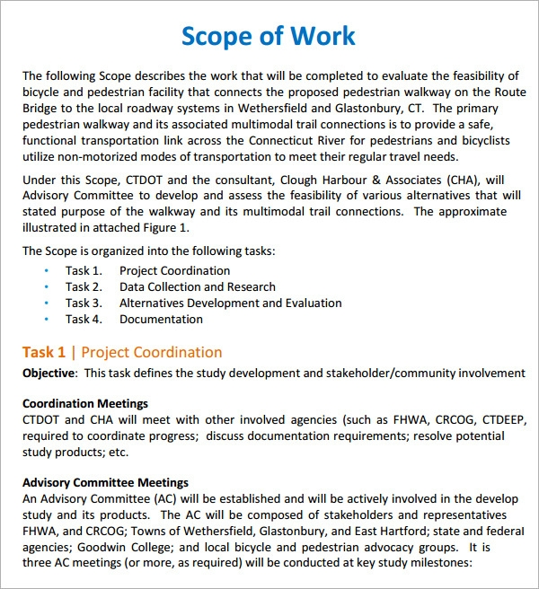 Standard Scope Of Work  Proposal Of Work Template