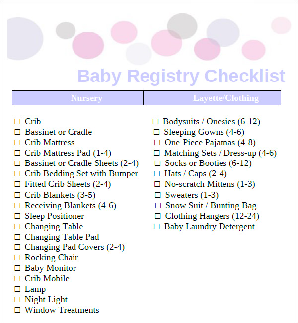 Sample Baby Registry Checklist - 7+ Documents In Pdf, Excel