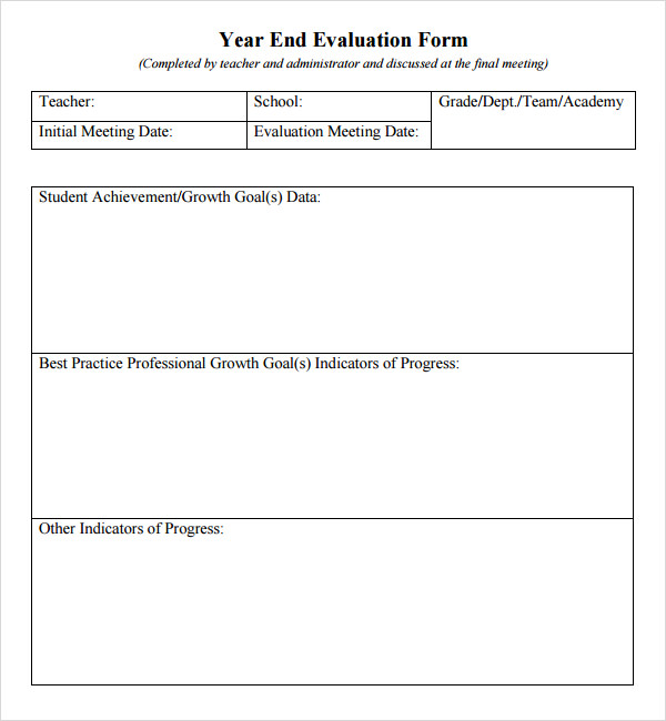 Teacher Evaluation Form 7 Free Download For Pdf