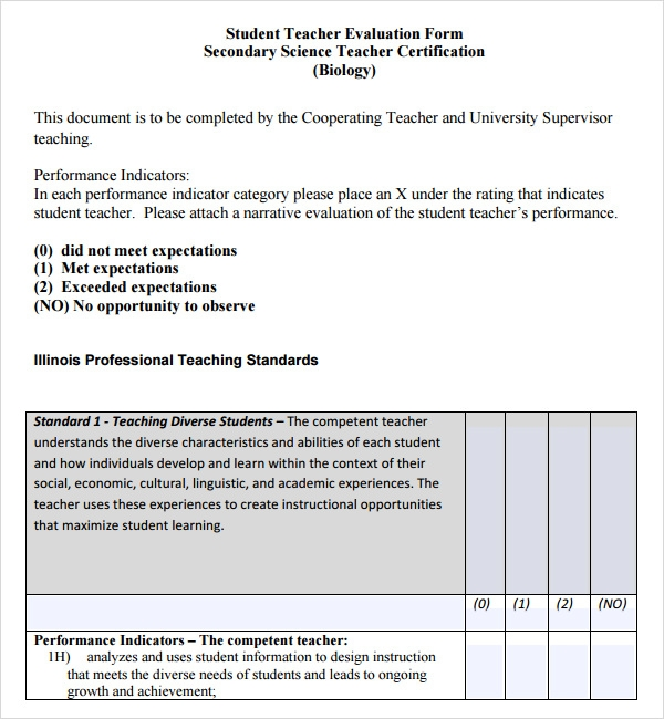 teaching evaluation form template .