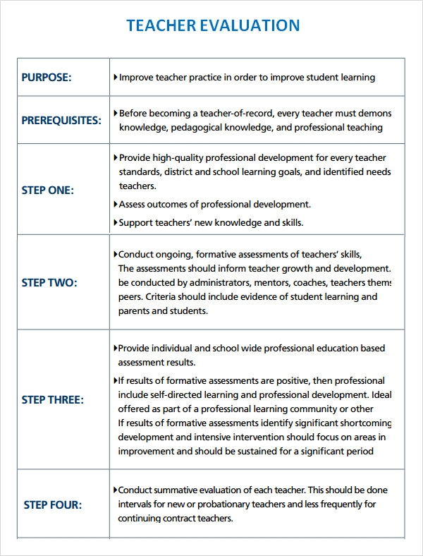 teacher self evaluation examples 9  Teacher Evaluation Samples | Sample Templates