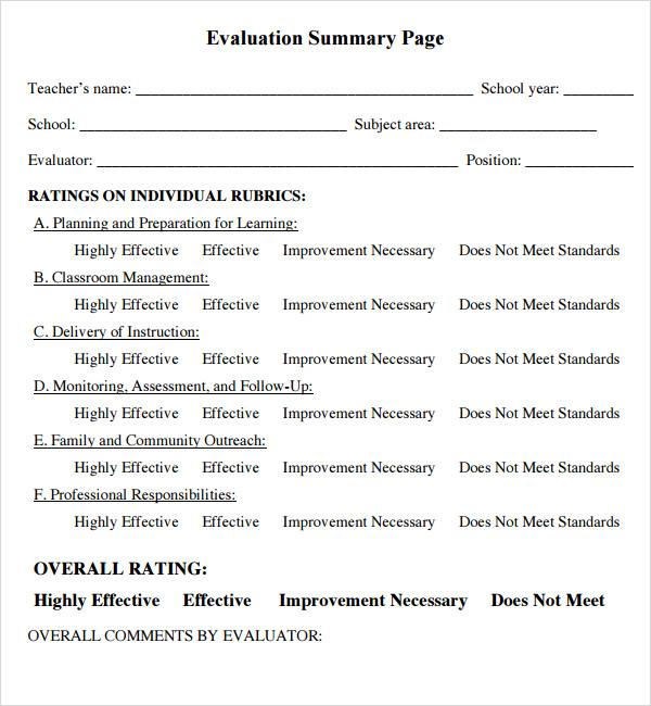Sample Teacher Evaluation Form   Documents In Pdf