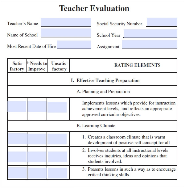 teacher evaluation form template