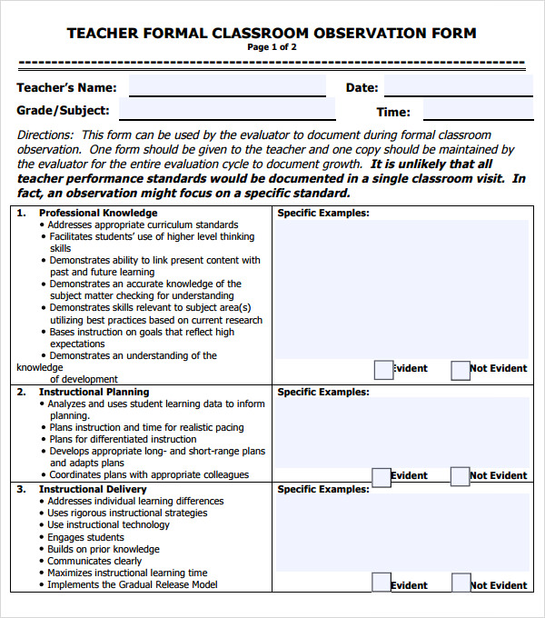5+ Sample Teacher Evaluation Forms - PDF