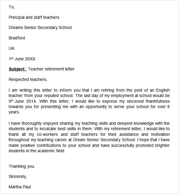Retirement Letter Sample Teacher Retirement Letter Samples