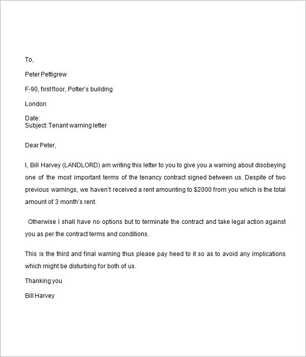 Final Warning Letter Sample