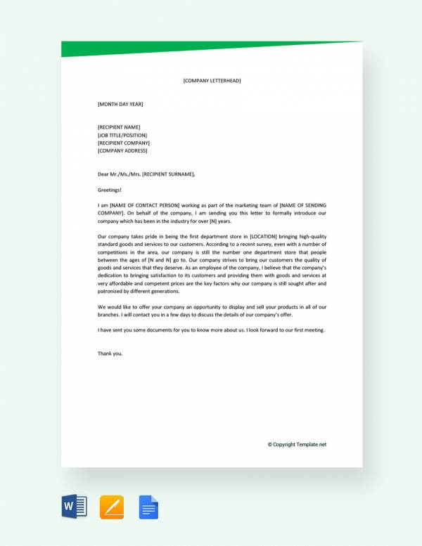trading business introduction letter