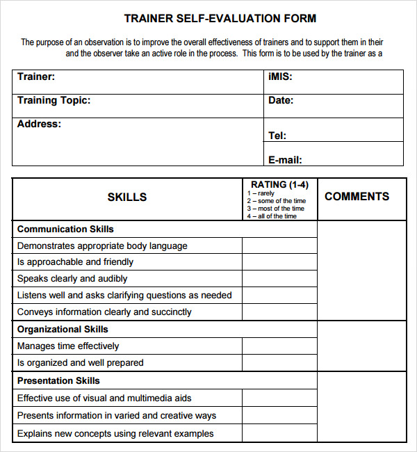 training evaluation template