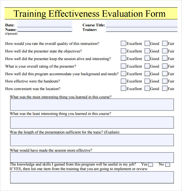 Training evaluation form 17 download free documents in for End of course evaluation template