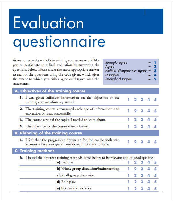 15 sample training evaluation forms pdf sample templates for End of course evaluation template