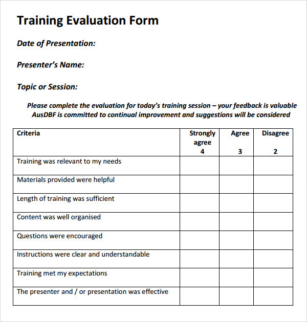 Training Assessment Form Training Evaluation Template Training