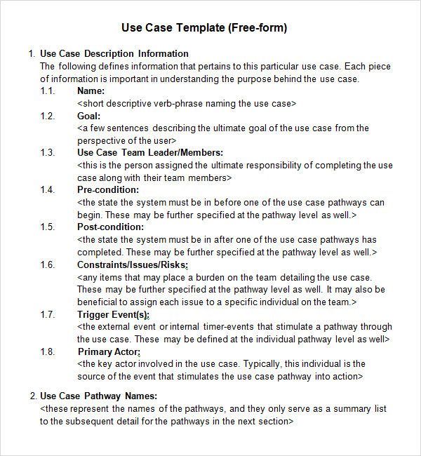 Sample Use Case 6 Documents in Word PDF – Case Brief Template Word
