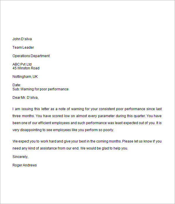 sample warning letter to employee