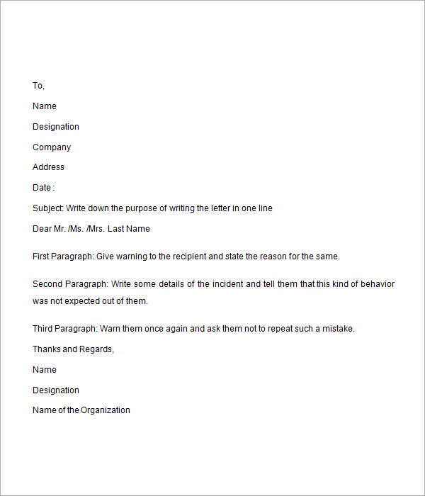 sample disciplinary letter