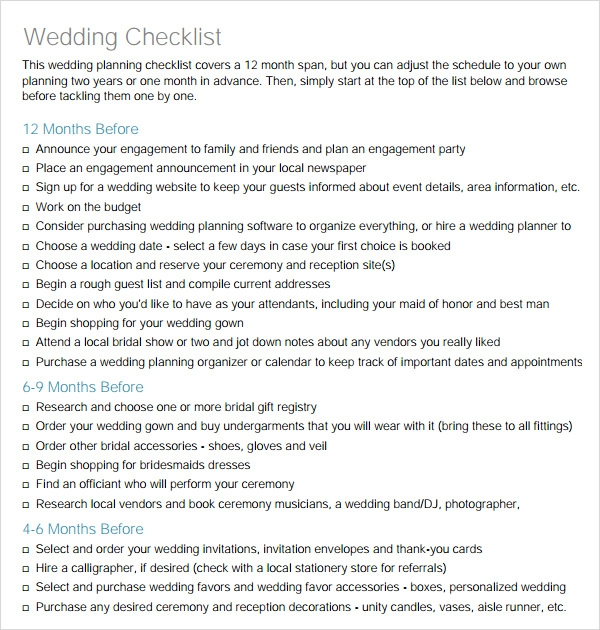 Sample Wedding Checklists