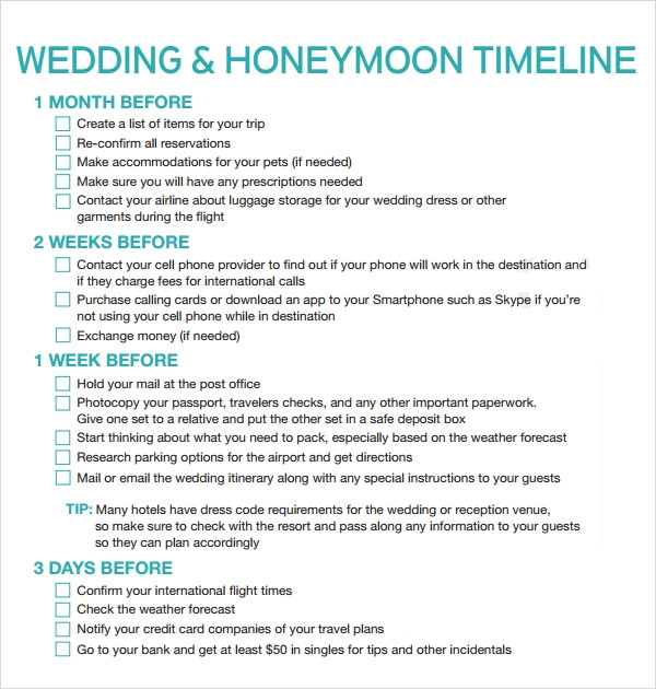 wedding reception honeymoon timeline template