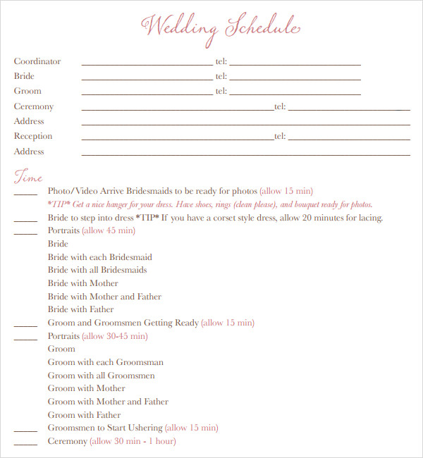 Free 5 Sample Wedding Timeline Templates In Pdf Word Ppt
