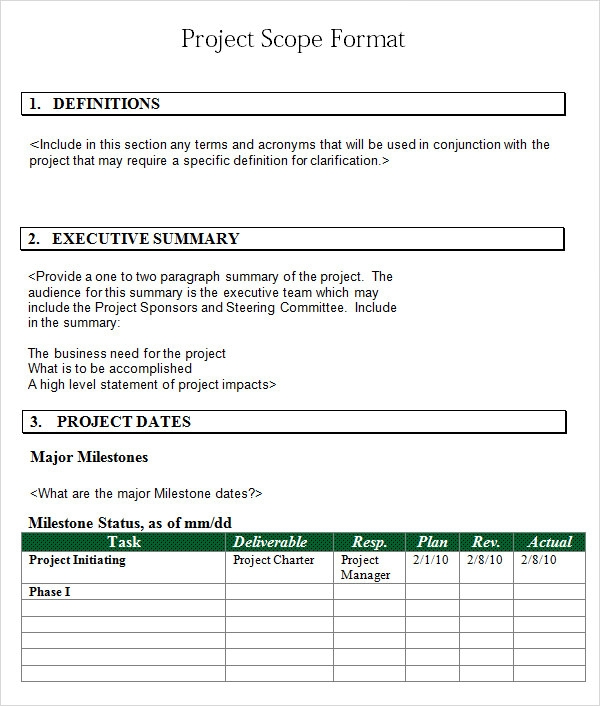 word format project scope template