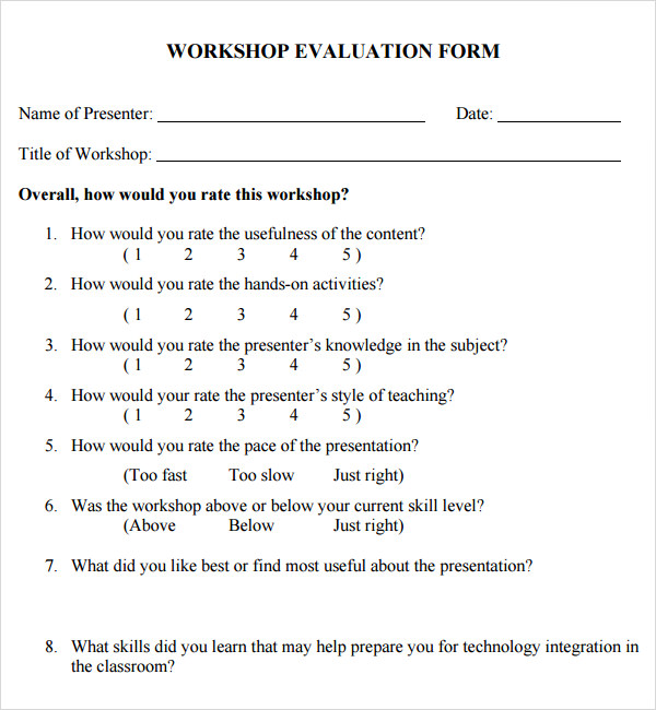 Training Evaluation Form   Download Free Documents In Word Pdf