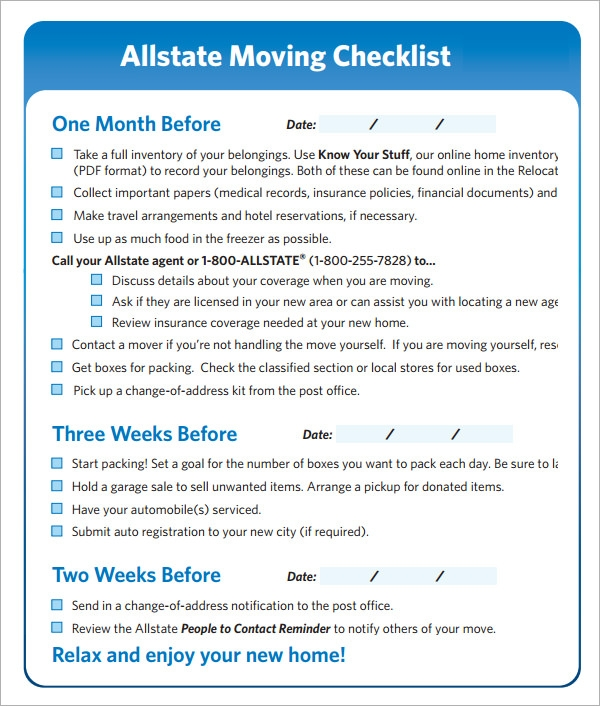 Attractive Moving Checklist   9+ Download Free Documents In Pdf