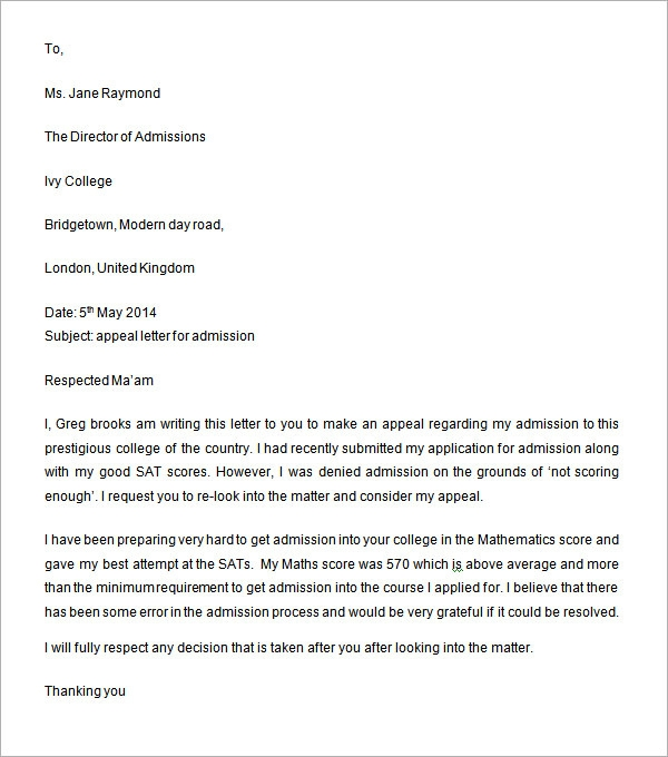 Appeal Letter For College