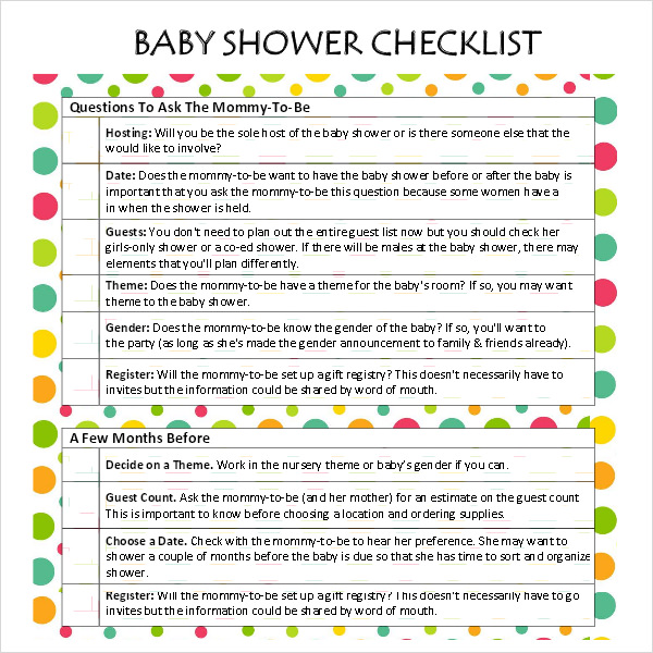 baby shower checklist 8 free download for pdf excel