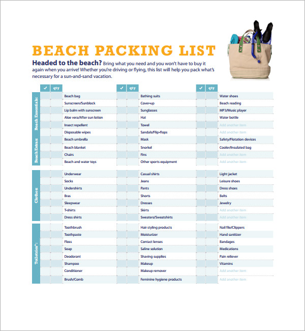 Sample vacation checklist 7 documents in pdf psd beach vacation checklist pronofoot35fo Image collections