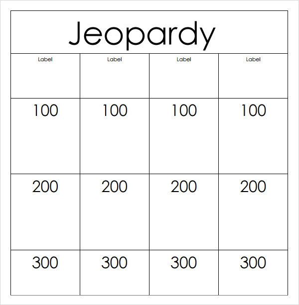 Striking image within jeopardy game board printable