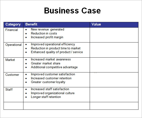 Sample Business Case   Documents In Pdf Word