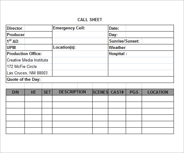 Call Sheet Template   5 Free Download for PDF Sample Templates y8wboUD3