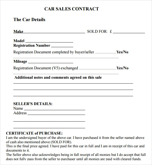 Sales Agreement Template – Vehicle Sales Contract