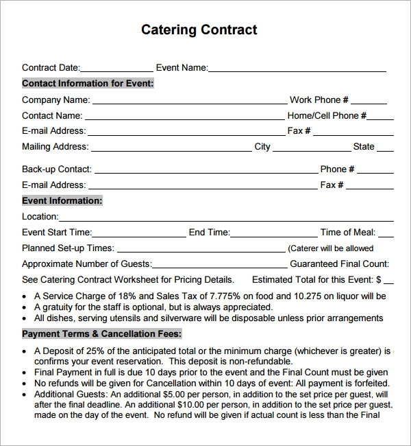 Sample catering contract template altavistaventures Gallery