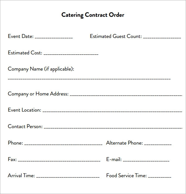 Sample catering contract template catering contract form thecheapjerseys Images