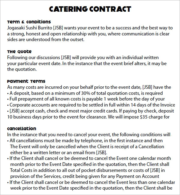 Sample Catering Contract Template  Resume Ideas  NamanasaCom