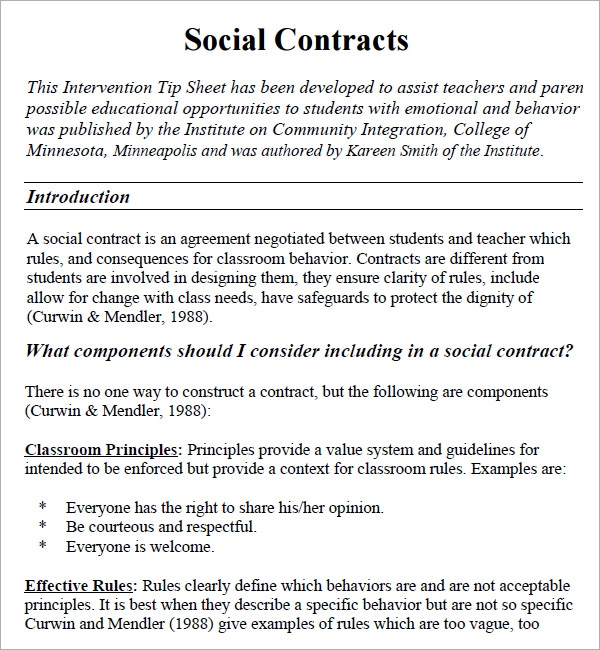 Social Contract 6 Free Pdf Download Sample Templates