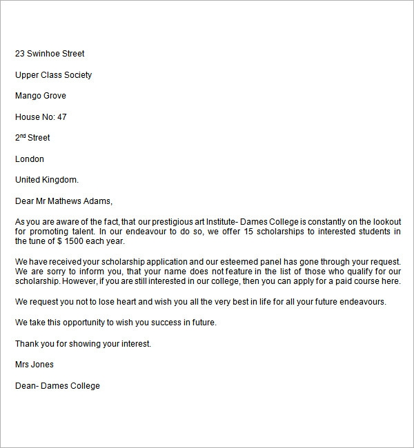 Scholarship Rejection Letter College Scholarship Rejection Letter ...