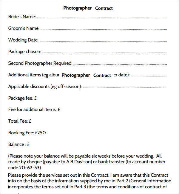 photographer contracts templates - photography contract 7 free pdf download sample templates