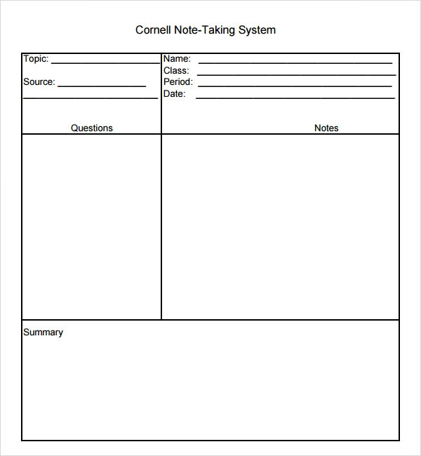16 Sample Editable Cornell Note Templates to Download | Sample Templates